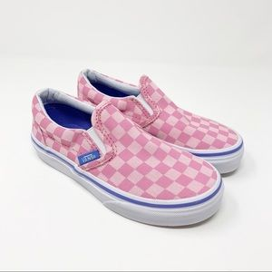 NEW VANS Pink Checkered Slip On Shoes 12.5